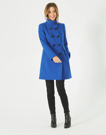 Jasmin wool mix blue coat with high collar (2) - 1-2-3