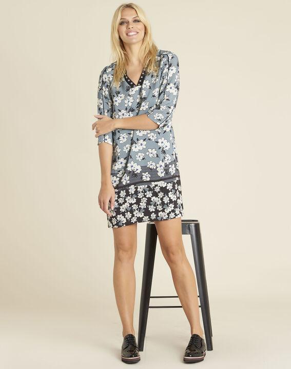 Blaues Print-Kleid mit Fantasieausschnitt Diam (2) - 1-2-3