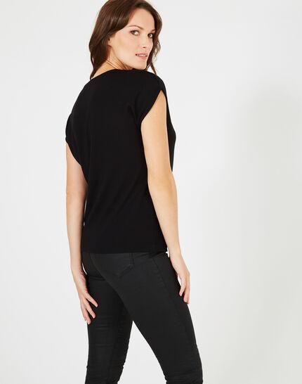 Schwarzes T-Shirt mit Swarovski-Kristallen Boussole (3) - 1-2-3