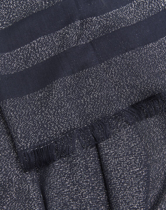 Fortune navy blue striped lurex scarf (2) - 1-2-3
