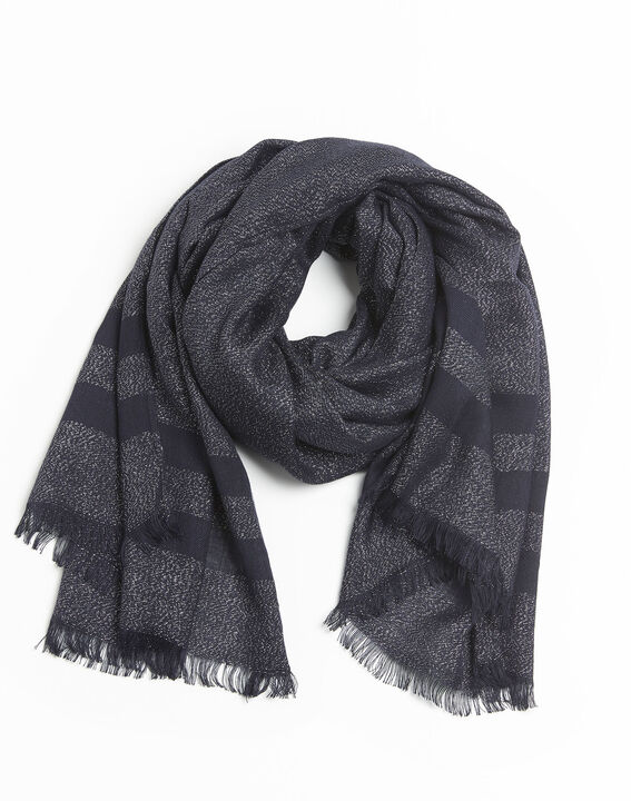 Fortune navy blue striped lurex scarf PhotoZ | 1-2-3