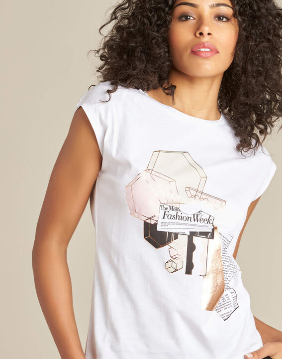 Elodie white stereographed T-shirt PhotoZ | 1-2-3