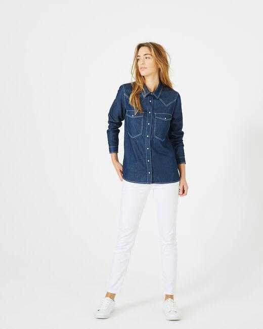 Jeansbluse mit weißen Ziernähten Dalie (1) - 1-2-3