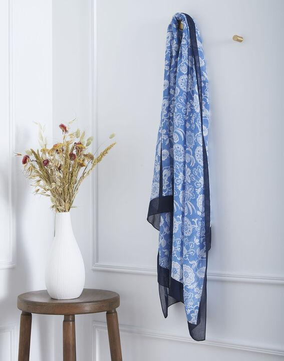 Foulard bleu imprimé floral Opaline PhotoZ | 1-2-3