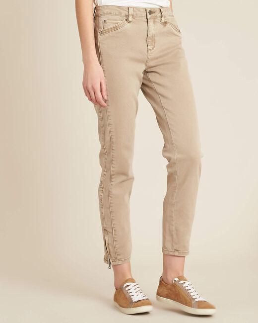 Camelfarbene Slim-Fit-Jeans mit Reißverschlüssen und normaler Leibhöhe Opera (2) - 1-2-3