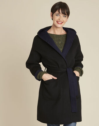 Elan black wool coat with blue reversible side black.