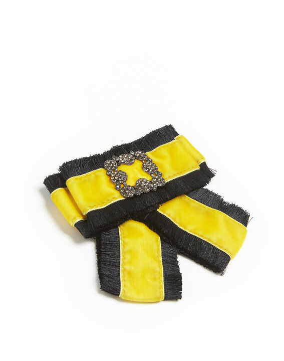 <br />Xavière baroque brooch with yellow velvet knot (2) - 1-2-3