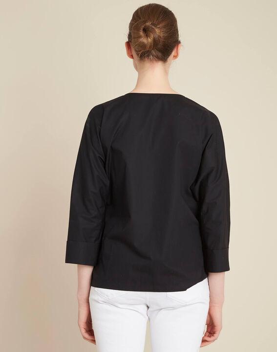 Zwarte blouse van popeline met lint Gianna (4) - 37653