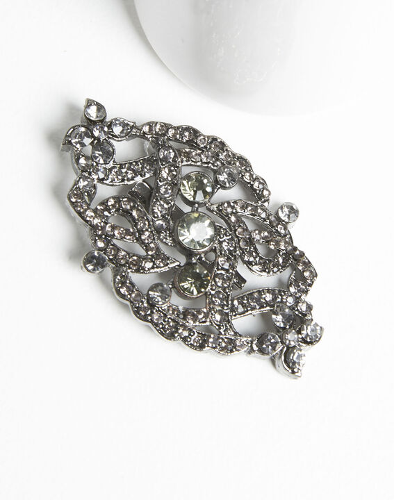 Xaviera silver plated intertwined brooch with black stones (2) - 1-2-3