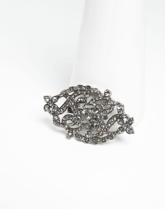 Verschlungene silberfarbene Brosche mit schwarzen Steinen Xaviera (1) - Maison 123