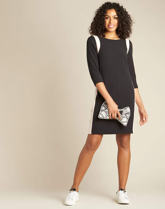 Pistache black dress with contrasting button tab and side buttons black.