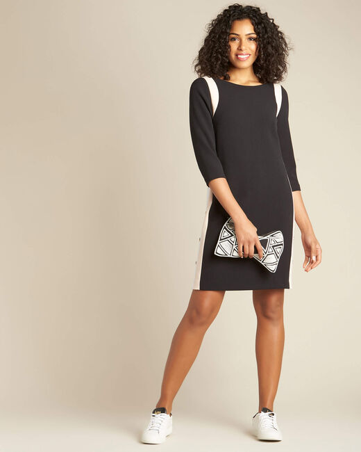 Pistache black dress with contrasting button tab and side buttons (1) - 1-2-3