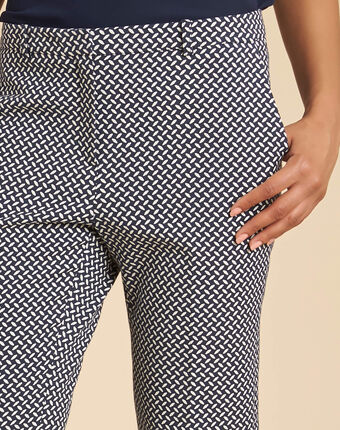Viva navy blue tapered trousers with print navy.