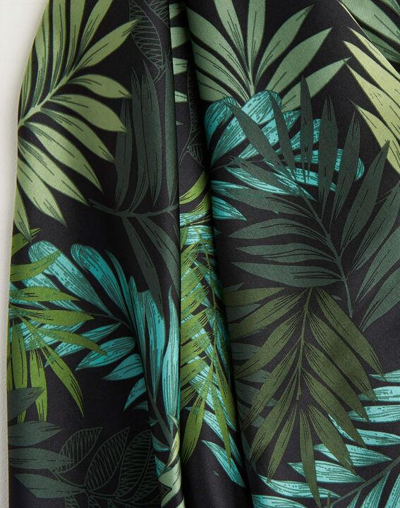 Grünes Seidenhalstuch mit Blumenprint Adélie PhotoZ | 1-2-3