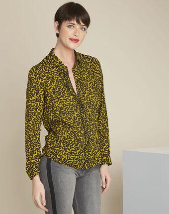 Ravel yellow leaf print shirt ochre.