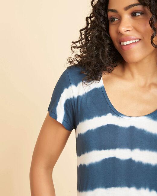 Tee-shirt bleu à rayures effet tie and dye Elea (2) - 1-2-3