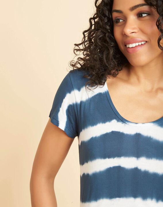 Tee-shirt bleu à rayures effet tie and dye Elea PhotoZ   1-2-3