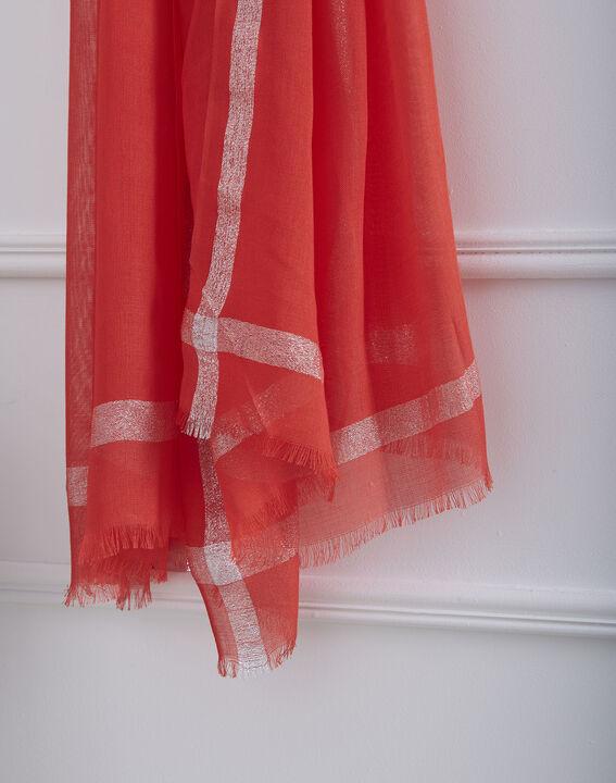 Foulard rouge en viscose détail lurex Orelia (2) - Maison 123