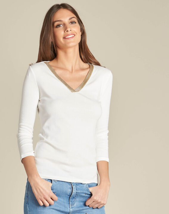 Etincelant off-white blouse with romantic neckline (3) - 1-2-3