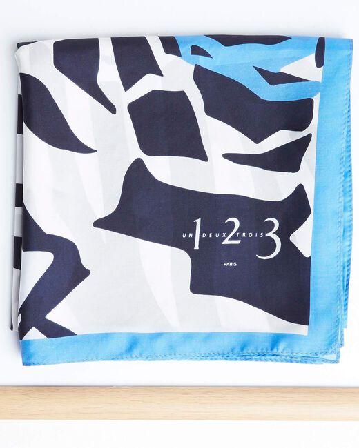 Carré de soie imprimé fleur graphique bleu Angel (1) - 1-2-3