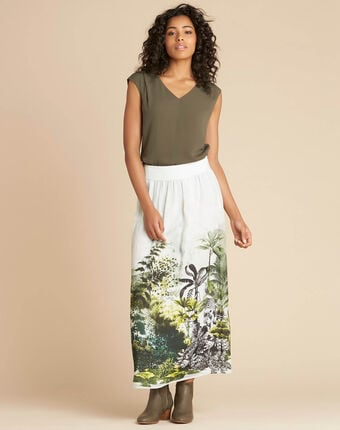 Lucius long jungle print skirt kaki.