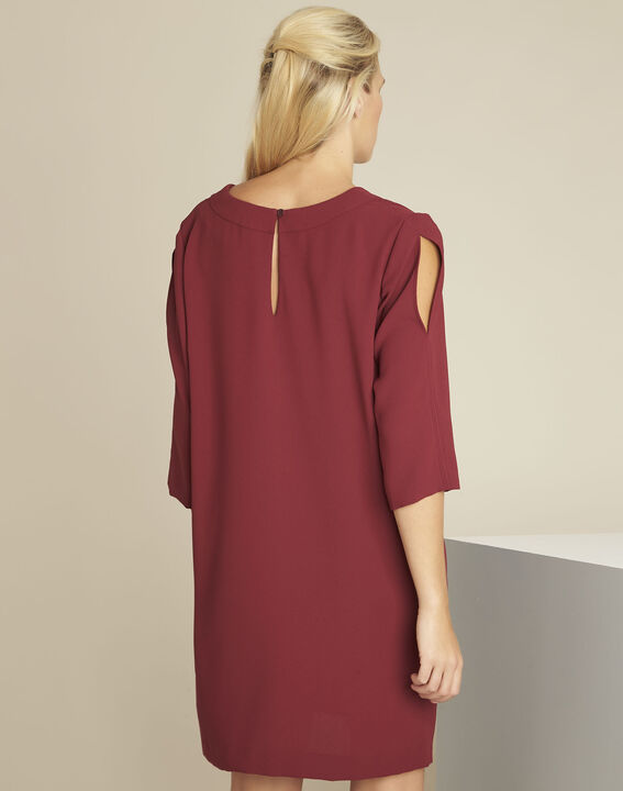 Devy ruby dress with crepe pockets (4) - 1-2-3