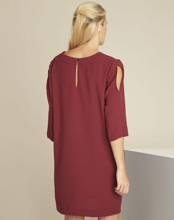 Robijnrode jurk met zakken van crêpe Devy (4) - 37653