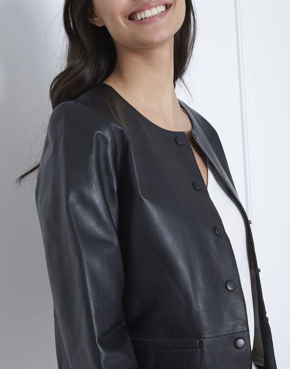 Kurze schwarze Jacke aus Lammleder Thea (3) - 1-2-3