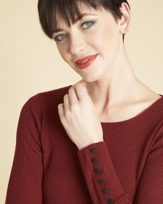 Bassus fine-knit mahogany sweater with buttoned sleeves (2) - 1-2-3