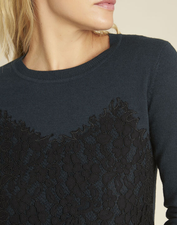Bertille dark green sweater with lace insert (2) - 1-2-3