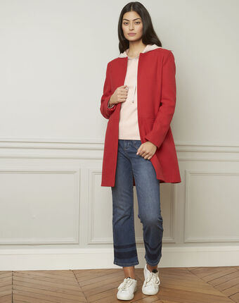Daya red cotton blend coat red.