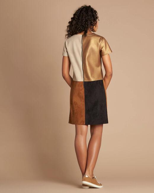 Passion bronze animal print colour-blocked dress (2) - 1-2-3