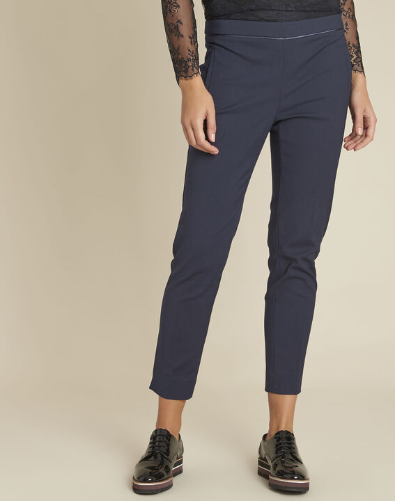 Holly navy slim-fit compact trousers PhotoZ | 1-2-3