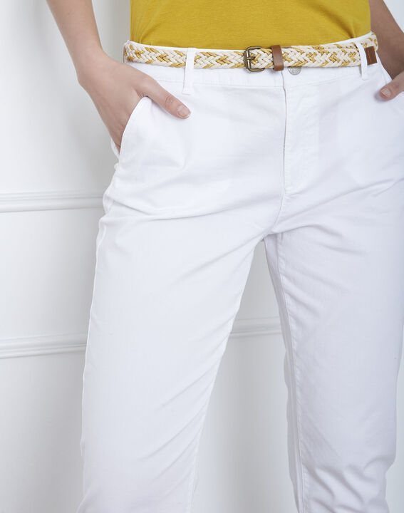 Pantalon blanc chino ceinture fantaisie Francis (3) - Maison 123