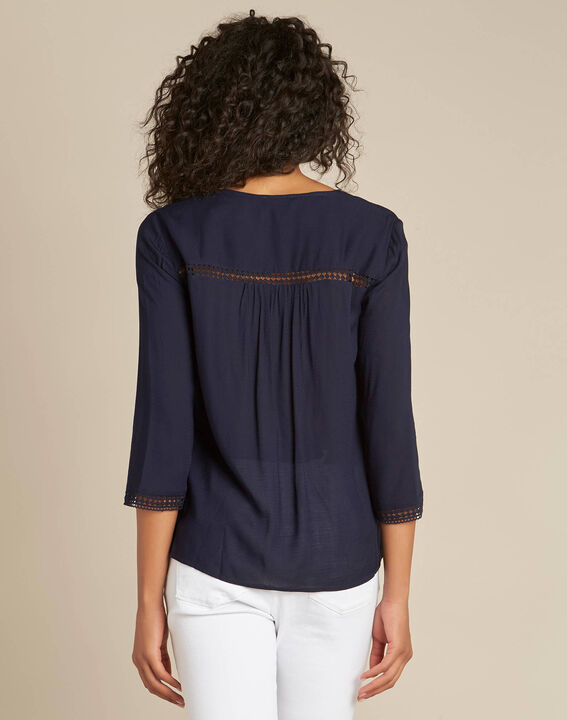 Graziella navy blue blouse with guipure detailing (4) - 1-2-3
