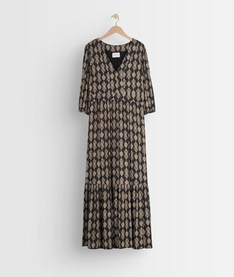 Robe longue fluide imprimée noire et blanche Ludine PhotoZ   1-2-3