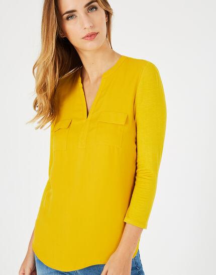 Gelbes T-Shirt im Materialmix Leden (2) - 1-2-3