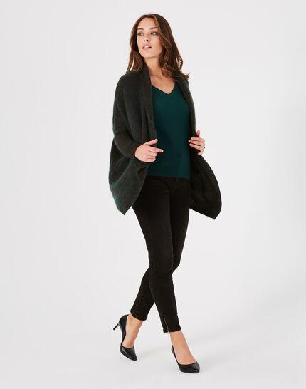 Waldgrüne lange Jacke aus Mohair und Wolle Patchouli (1) - 1-2-3