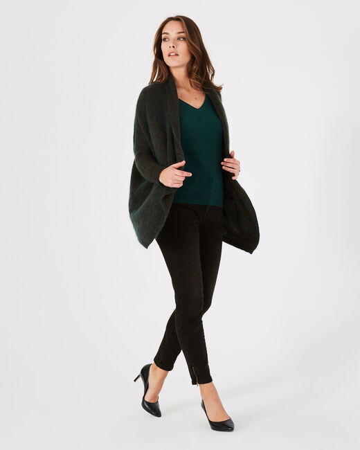 Patchouli long forest green jacket in mohair and wool (2) - 1-2-3