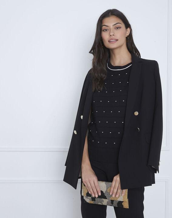 Schwarzer Pullover mit Relief-Strick Arles (2) - Maison 123