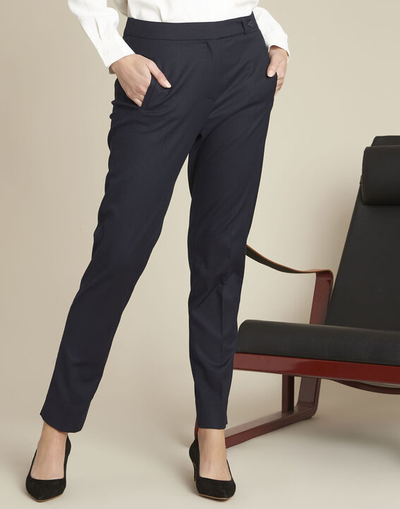 Zip-up tapered navy viscose trousers PhotoZ | 1-2-3