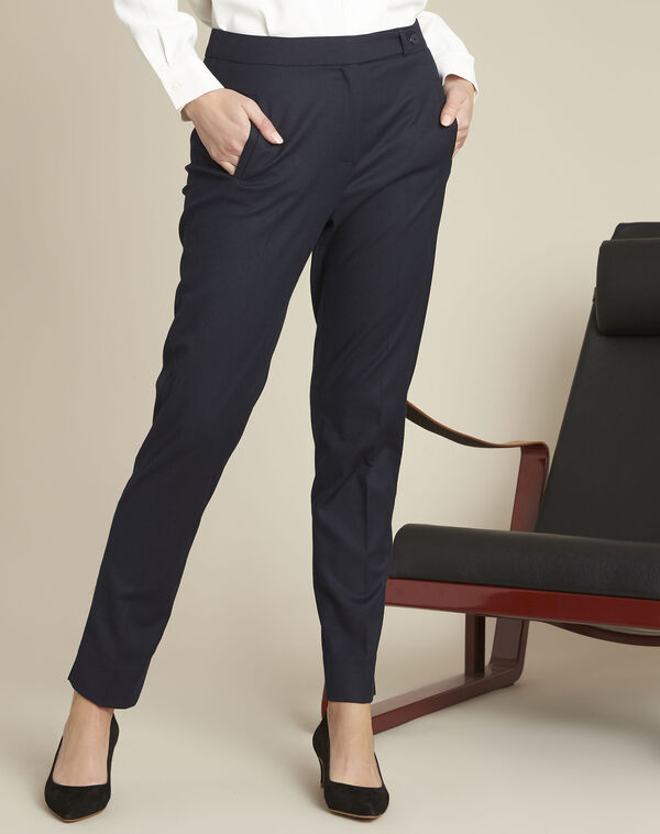 Zip-up tapered navy viscose trousers (1) - 1-2-3