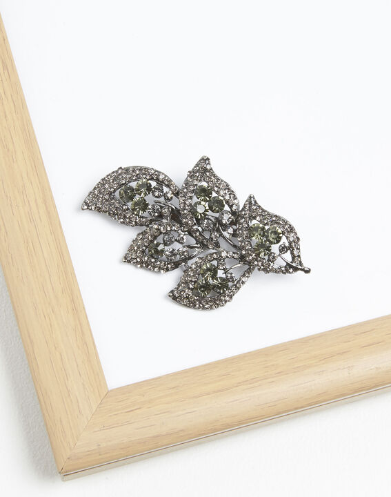 Xelia leaf brooch with black stones PhotoZ | 1-2-3