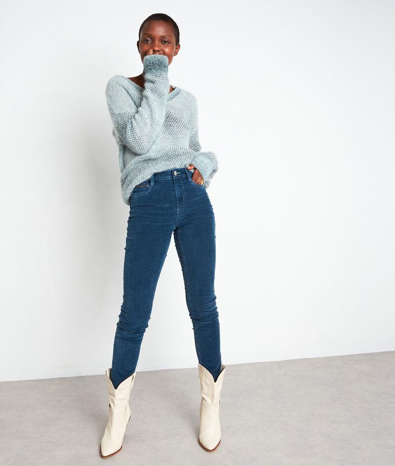 Pantalon slim en velours milleraies bleu Sultan PhotoZ | 1-2-3
