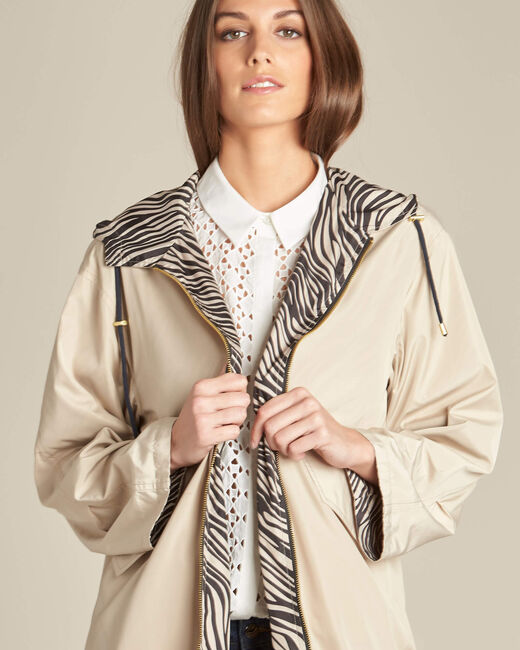 Fiona mid-length beige reversible parka (2) - 1-2-3
