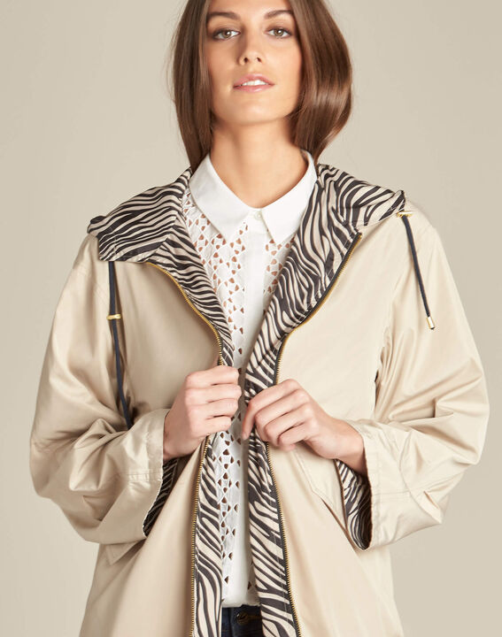 Fiona mid-length beige reversible parka (1) - 1-2-3