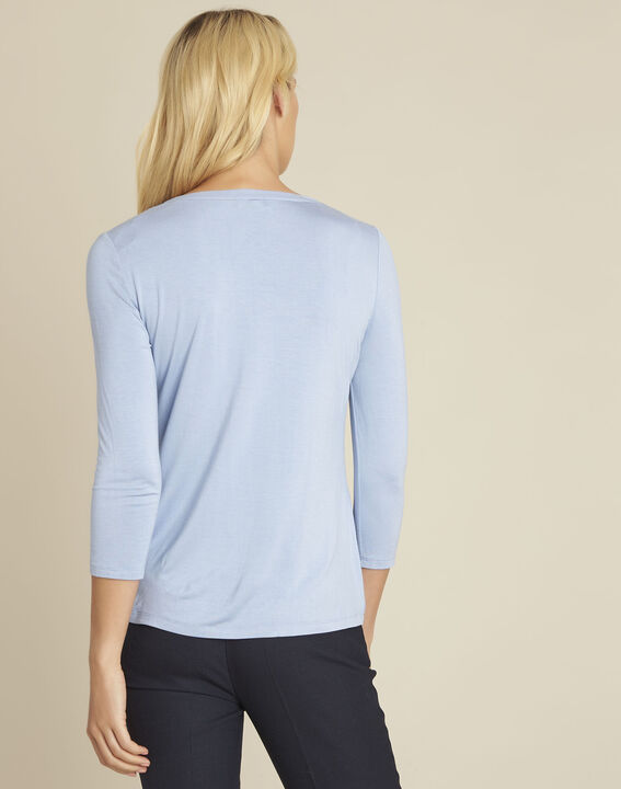Bianca azure blue bi-material blouse with a V-neck (4) - Maison 123