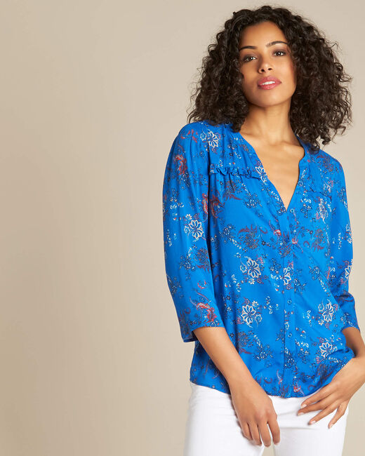 Koningsblauw overhemd met Perzische bloemenprint Galyn (2) - 37653