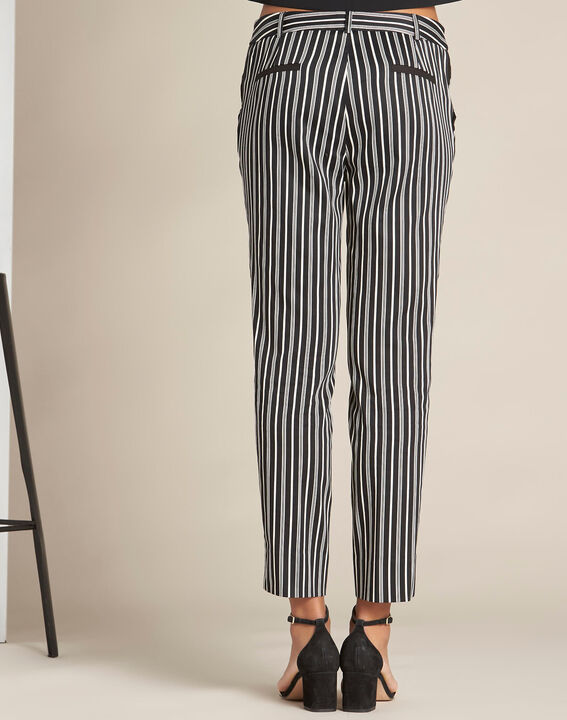 Francis striped cotton black tapered trousers (4) - 1-2-3