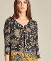 Schwarze Bluse mit Blumenprint Domino PhotoZ | 1-2-3
